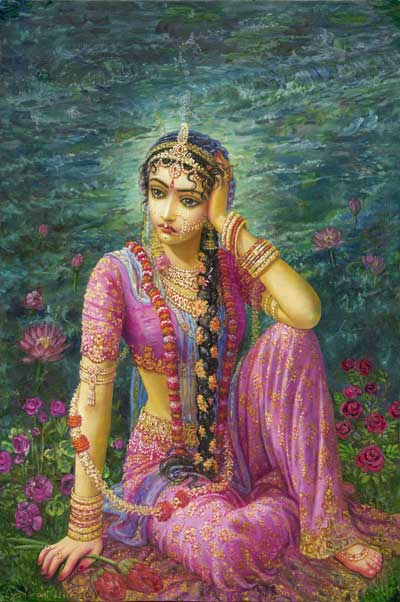 Srimati Radhika é a mais elevada morada de prema. Mas ela própria tem três aspectos: um é a raiz, e os outros dois são suas expansões. Em Vrndavana, especialmente em Govardhana, Nandagaon,Varsana, Radha-Kunda, Syama-kunda e locais semelhantes, Ela éVrsabhanu-nandini. Ela é a raiz e inclui Suas expansões também. Ela nunca deixa Vrndavana.